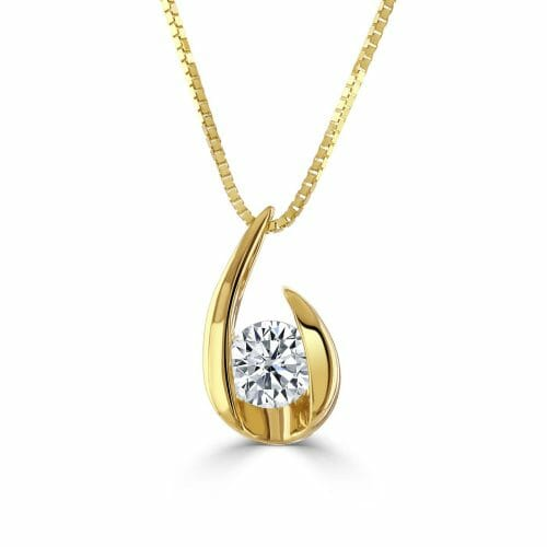 18ct Gold Round Brilliant Diamond Single Stone Swirl Pendant 0.20ct DP1467/68 – 18ct Yellow Gold