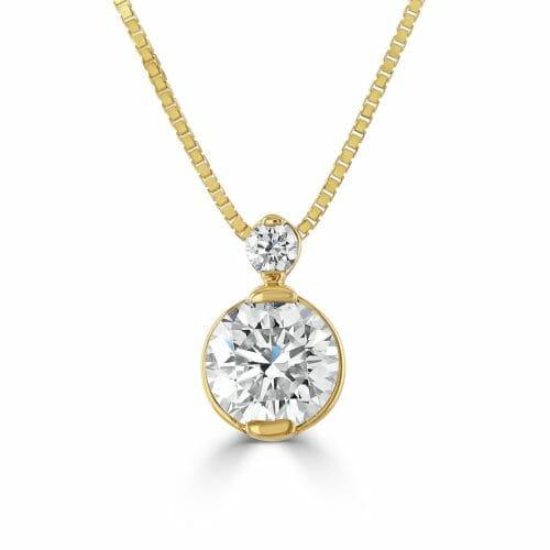 18ct Gold Round Brilliant Diamond Graduated Two Stone Pendant 0.40ct DP1475/80 – 18ct White Gold