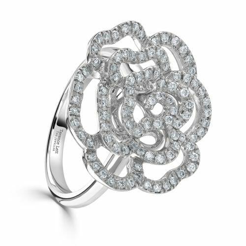 18ct White Gold Round Brilliant Diamond Flower Cluster Ring 0.57ct