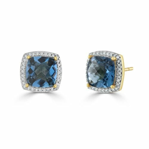 9ct Yellow Gold Blue Topaz & Round Brilliant Diamond Cluster Stud Earrings