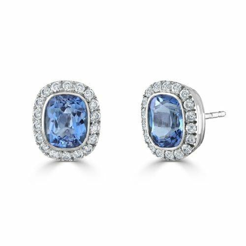 18ct White Gold Cushion Cut Aquamarine & Round Brilliant Diamond Cluster Stud Earrings