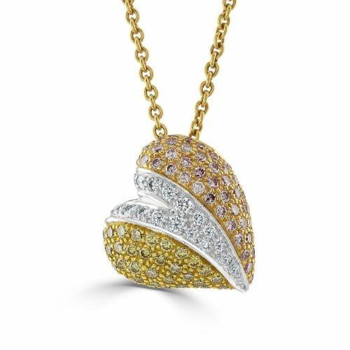18ct Rose Gold Round Brilliant Multi-Coloured Diamond Heart Pendant