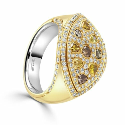 18ct Rose Gold Multi-Cut Multi-Coloured Diamond Cocktail Ring