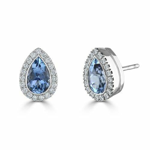 18ct White Gold Pear Cut Aquamarine & Round Brilliant Diamond Cluster Stud Earrings