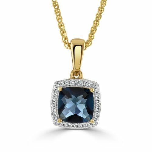9ct Yellow Gold Blue Topaz & Round Brilliant Diamond Cluster Pendant