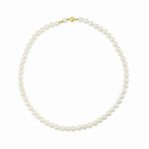 18ct Yellow Gold 6.5mm-7mm Akoya Pearl Necklace 43cm