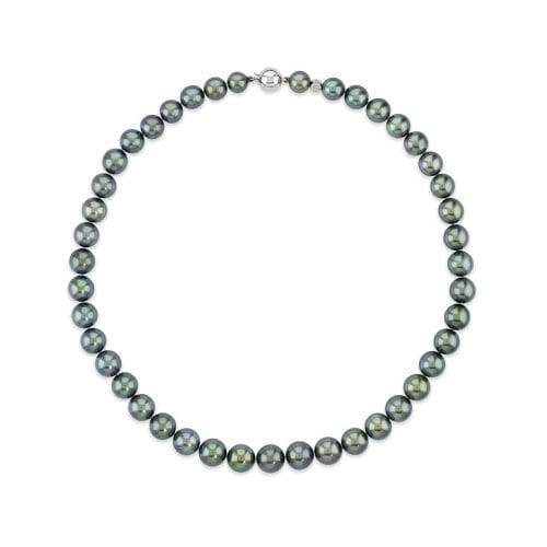 18ct White Gold 8mm-10mm Tahitian Pearl Necklace 44cm