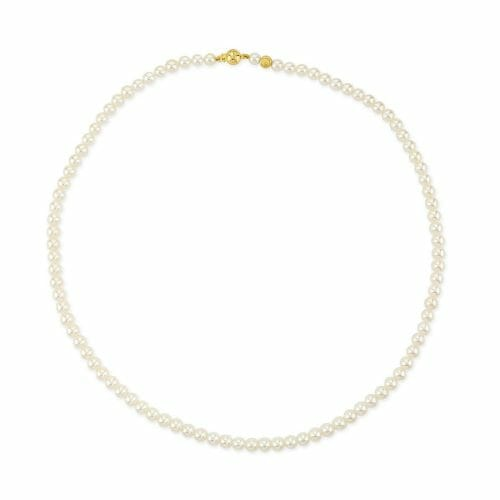 18ct Yellow Gold 4.5mm-5mm Akoya Pearl Necklace 45cm