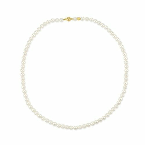 18ct Yellow Gold 5mm-5.5mm Akoya Pearl Necklace 45cm