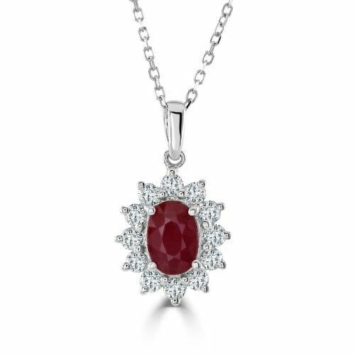 18ct Gold Oval Cut Ruby & Round Brilliant Diamond Cluster Pendant