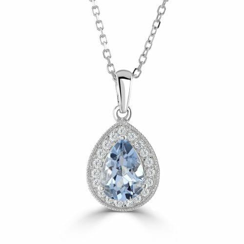18ct Gold Pear Cut Aquamarine & Round Brilliant Diamond Cluster Pendant