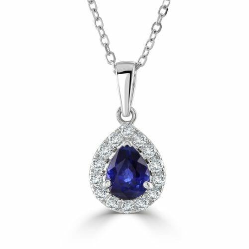 18ct Gold Pear Cut Sapphire & Round Brilliant Diamond Cluster Pendant