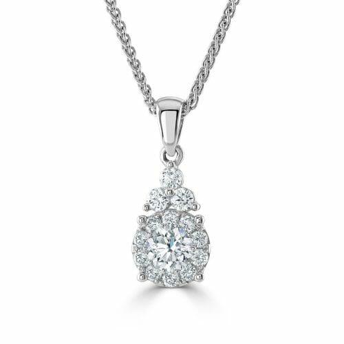18ct Gold Round Brilliant Diamond Claw Set Pear Shape Cluster Pendant 0.75ct