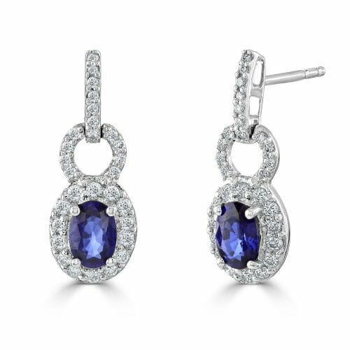 18ct White Gold Oval Cut Sapphire & Round Brilliant Diamond Cluster Drop Earrings
