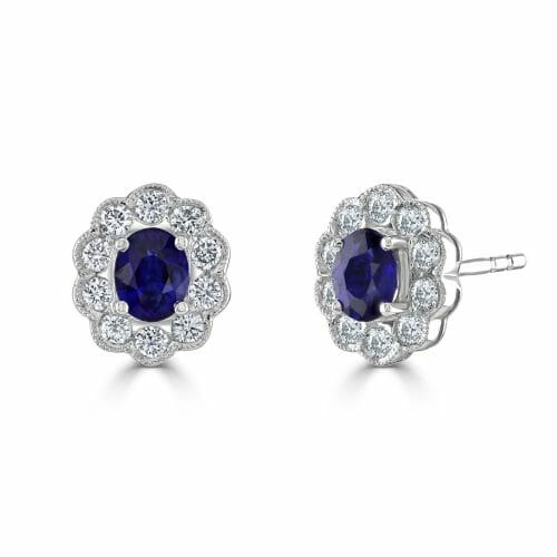18ct White Gold Oval Cut Sapphire & Round Brilliant Diamond Cluster Stud Earrings
