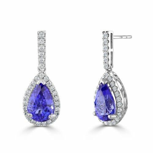 18ct White Gold Pear Cut Tanzanite & Round Brilliant Diamond Cluster Drop Earrings