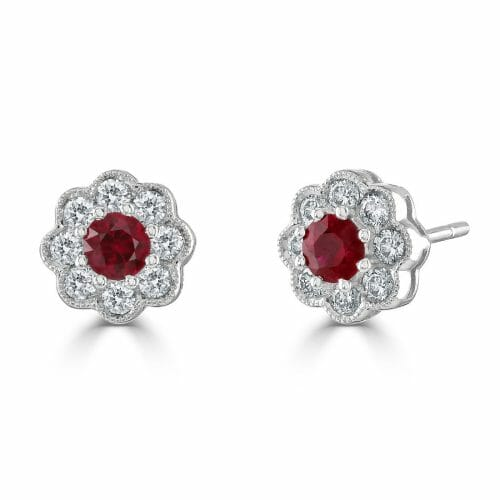 18ct White Gold Round Brilliant Ruby & Diamond Cluster Stud Earrings
