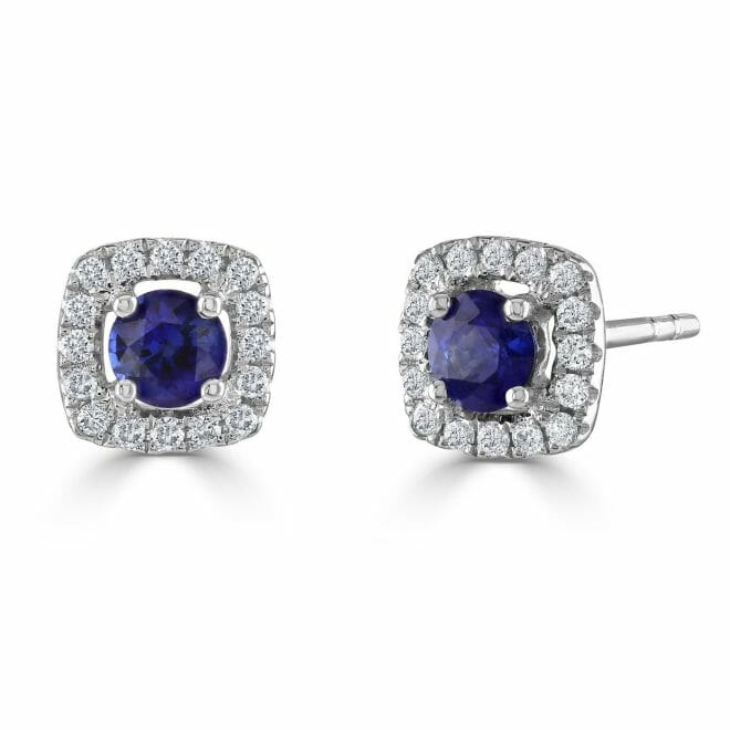 18ct White Gold Round Brilliant Sapphire & Diamond Cluster Stud Earrings
