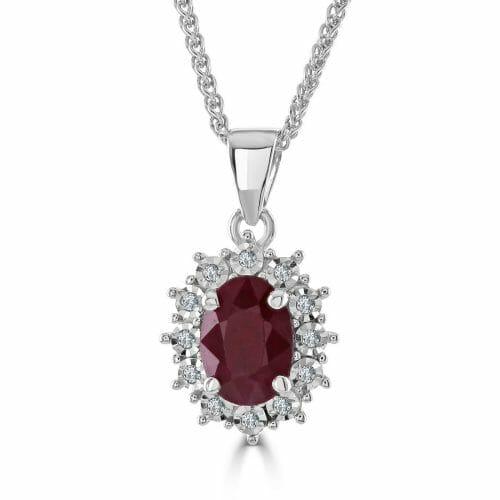 9ct Gold Oval Cut Ruby & Round Brilliant Diamond Cluster Pendant