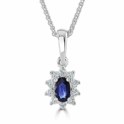 9ct Gold Oval Cut Sapphire & Round Brilliant Diamond Cluster Pendant