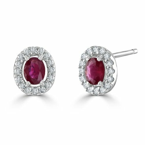 9ct White Gold Oval Cut Ruby & Round Brilliant Diamond Cluster Stud Earrings