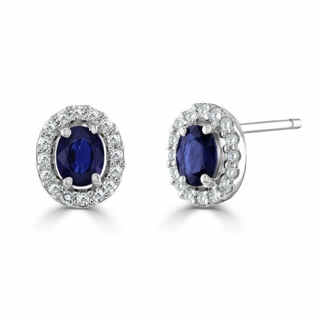 9ct White Gold Oval Cut Sapphire & Round Brilliant Diamond Cluster Stud Earrings