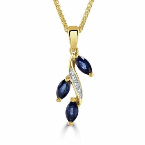 9ct Yellow Gold Marquise Cut Sapphire & Round Brilliant Diamond Floral Vine Pendant