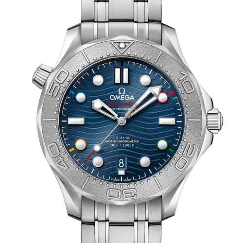 """Omega Seamaster Diver 300M Co-Axial Master Chronometer """"Beijing 2022"""" Special Edition Blue Dial 42mm- Front View"""