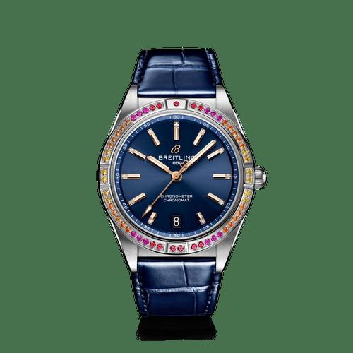 Breitling Chronomat South Sea Steel Gem-Set Bezel Diamond Dot Blue Dial 36mm- Front