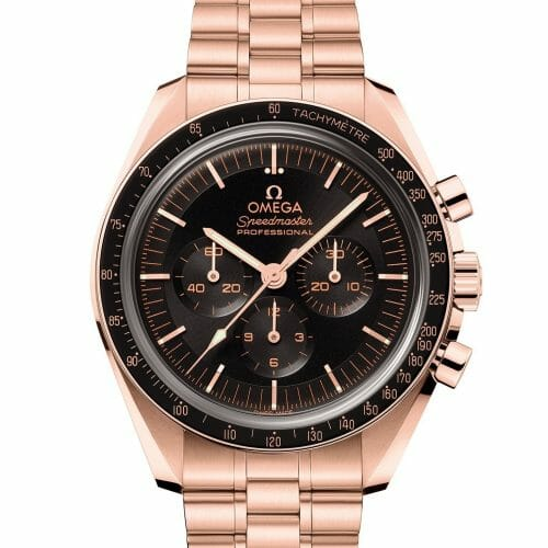 Omega 2021 Release Speedmaster Professional Chronograph Moonwatch Co-Axial Master Chronometer Black Dial Sedna™ Gold 42mm- Front View