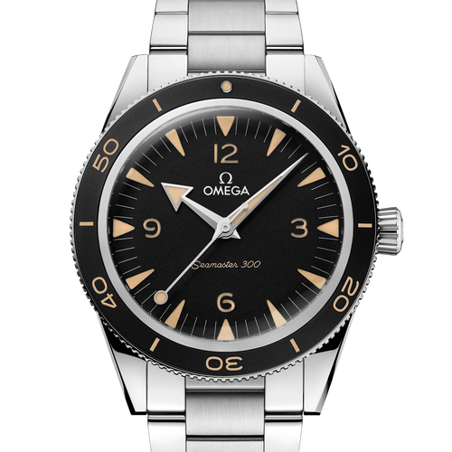 Omega Seamaster 300 Heritage Co-Axial Master Chronometer Black Dial 41mm- Front View