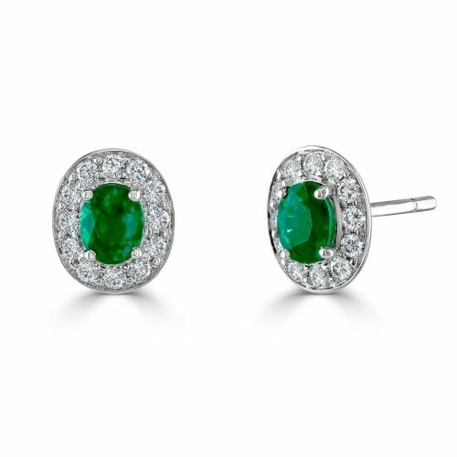 18ct White Gold Oval Cut Emerald & Round Brilliant Diamond Cluster Stud Earrings