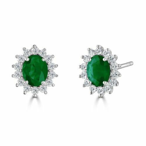 18ct White Gold Oval Cut Emerald & Round Brilliant Diamond Cluster Stud Earrings DE1419