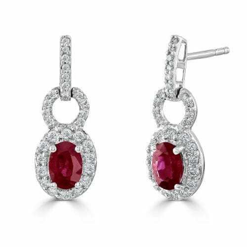 18ct White Gold Oval Cut Ruby & Round Brilliant Diamond Cluster Drop Earrings
