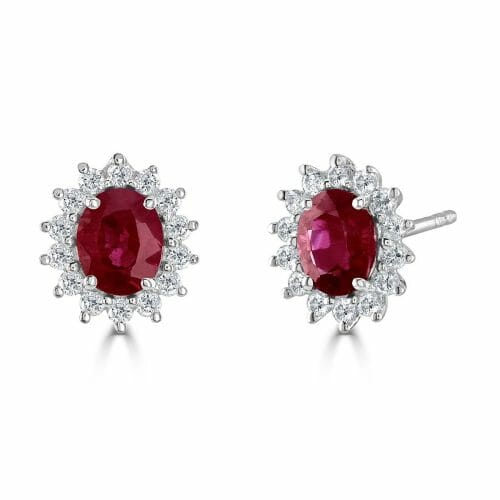 18ct White Gold Oval Cut Ruby & Round Brilliant Diamond Cluster Stud Earrings