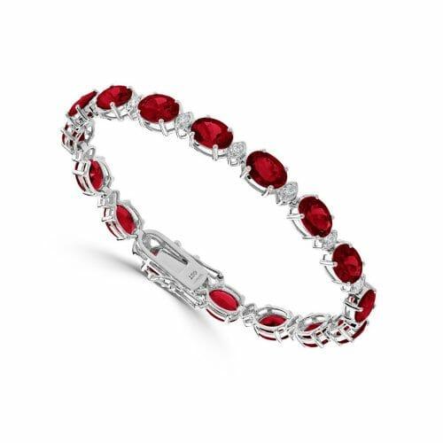 18ct White Gold Oval Cut Ruby & Round Brilliant Diamond Tennis Bracelet