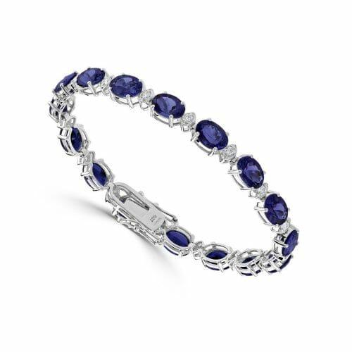 18ct White Gold Oval Cut Sapphire & Round Brilliant Diamond Tennis Bracelet