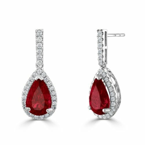 18ct White Gold Pear Cut Ruby & Round Brilliant Diamond Cluster Drop Earrings