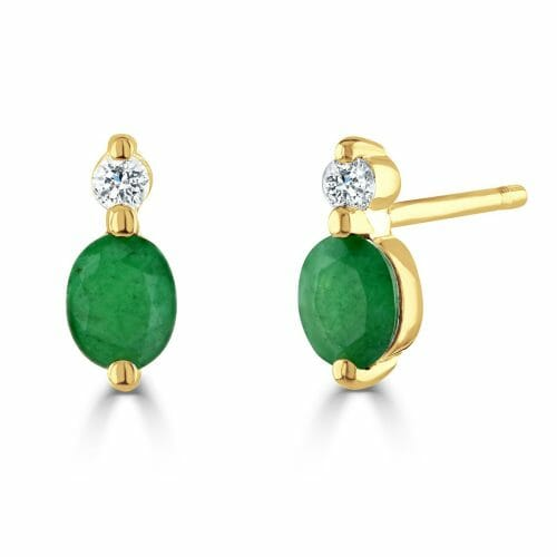 9ct Gold Oval Cut Emerald & Round Brilliant Diamond Two Stone Stud Earrings