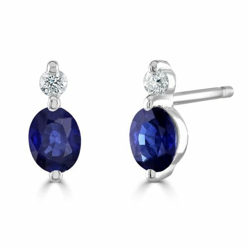 9ct Gold Oval Cut Sapphire & Round Brilliant Diamond Two Stone Stud Earrings