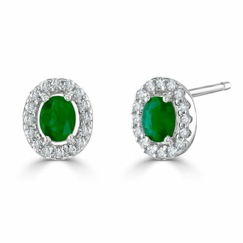 9ct White Gold Oval Cut Emerald & Round Brilliant Diamond Cluster Stud Earrings