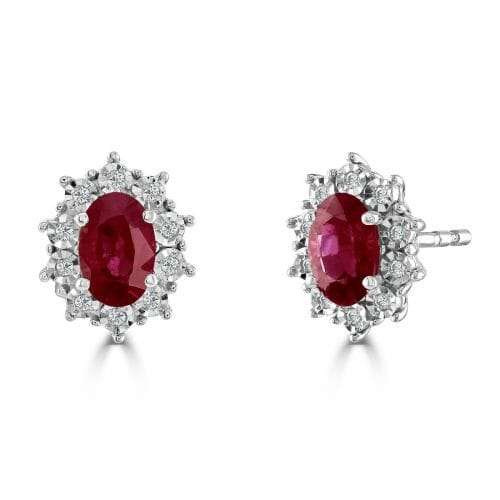 9ct White Gold Oval Cut Ruby & Round Brilliant Diamond Cluster Stud Earrings DE1432