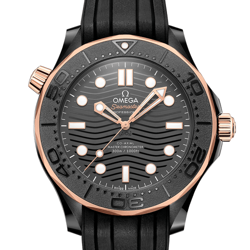 Omega Seamaster Diver 300M Co-Axial Master Chronometer Black Dial Sedna™ Gold 43.5mm- Front View
