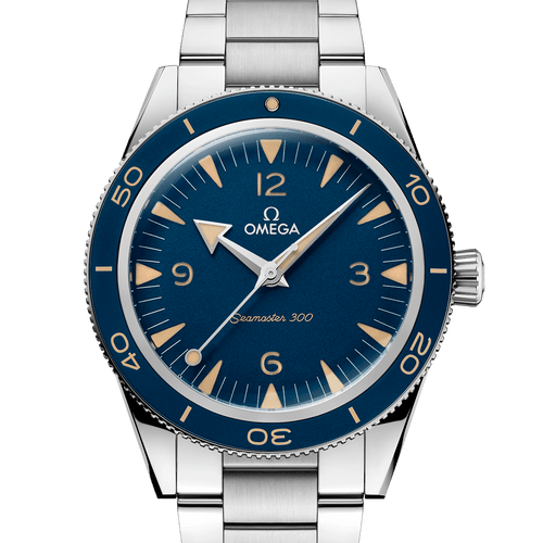 Omega Seamaster 300 Heritage Co-Axial Master Chronometer Blue Dial 41mm- Front View