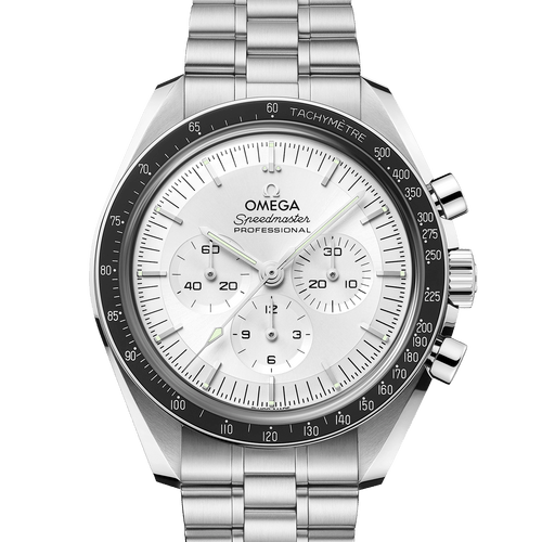 Omega 2021 Release Speedmaster Professional Chronograph Moonwatch Co-Axial Master Chronometer White Dial Canopus Gold™ 42mm- Front View