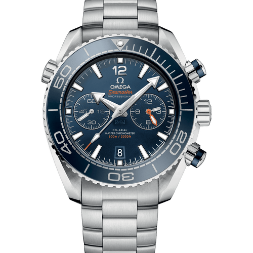 Omega Seamaster Planet Ocean 600M Co-Axial Master Chronometer Chronograph Blue Dial 45.5mm- Front View