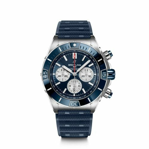 Breitling Super Chronomat B01 Chronograph Steel Blue Dial 44mm - Front View