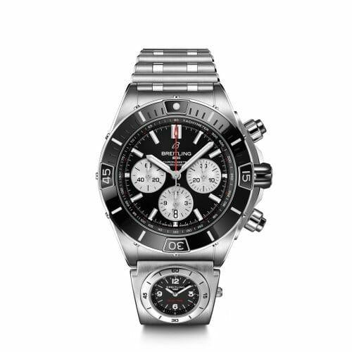 Breitling Super Chronomat B01 Chronograph Steel Black Dial 44mm- Front View