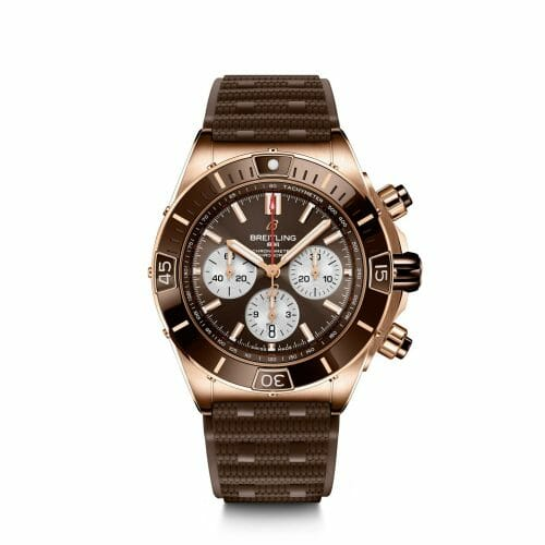 Breitling Super Chronomat B01 Chronograph 18ct Rose Gold Brown Dial 44mm - Front View