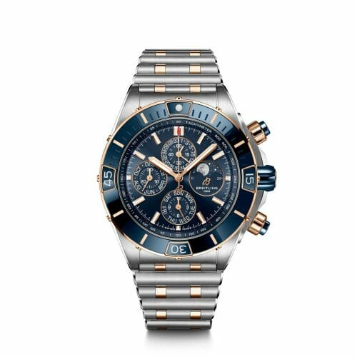 Breitling Super Chronomat Four Year Calendar Chronograph Steel & 18ct Rose Gold Blue Dial- Front View